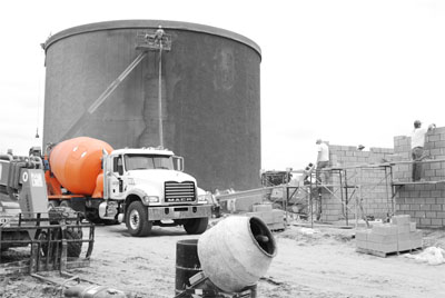 water tower on which Jacobson ready mixed concrete was used